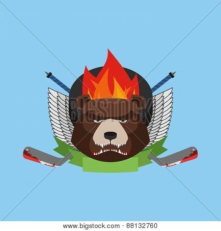 hockey bear emblem. Vector illustration