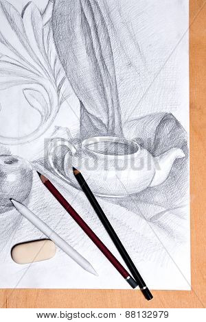 Drawing Of Still Life By Graphite Pencil.