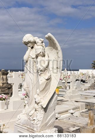 Angel In Sorrow On Cemetery.