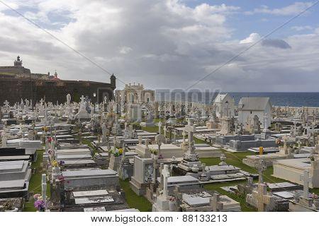 Cemetery Maria Magdalena With Castello San Felipe Del Morro.