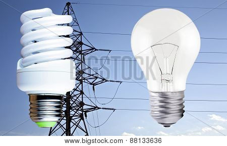 Fluorescent Light Bulb And Incandescent