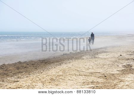 A Cyclist On The Beach