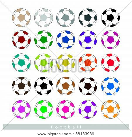 Set Of Multi-colored Footballs Or Soccer Balls
