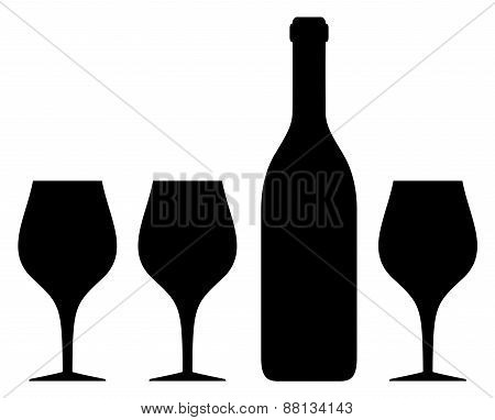 isolated glass and bottle silhouette