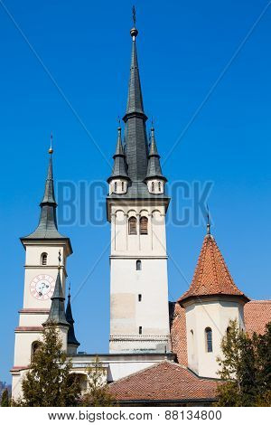 Towers of Saint Nicholas Church in Brasov, Transilvania