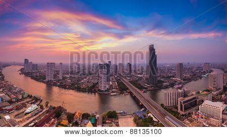 Beautiful sky panorama of Chao Phraya river curve, Bangkok Thailand