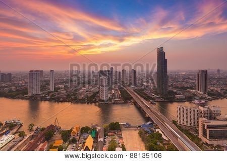 After sunset of Bangkok skylines with Chao Phraya river curve, Bangkok Thailand