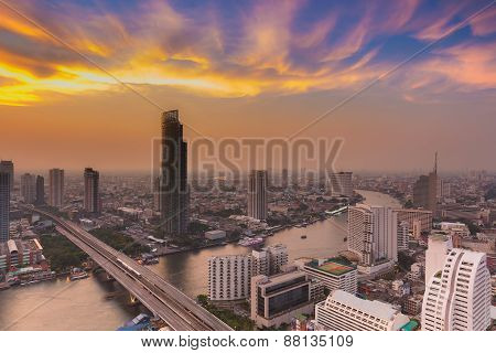 Bangkok river curve with beautiful cloudscape