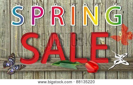 Letter Spring Sale On Wood Background