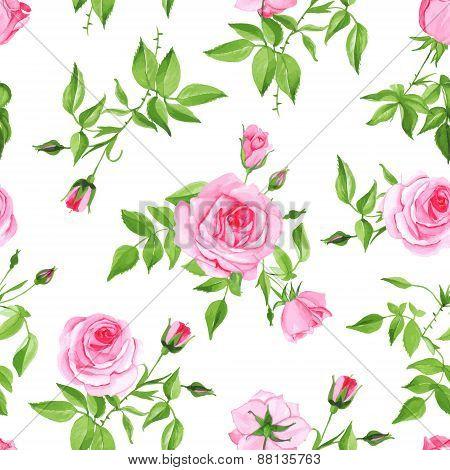 Vintage Pink Roses Seamless Vector Print
