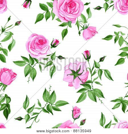 Watercolor Pink Rose Seamless Vector Print