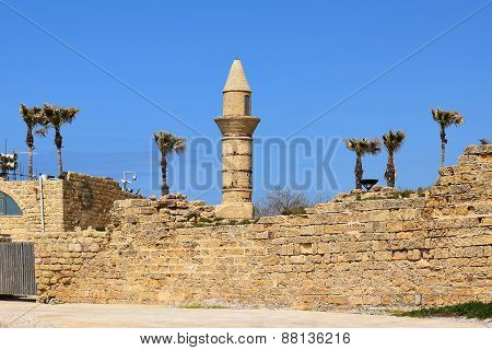 Minaret Of Caesarea Maritima In Ancient City Of Caesarea, Israel