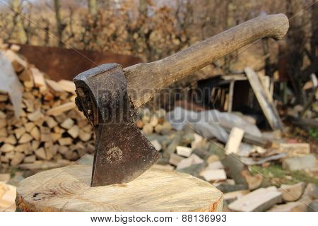 Axe and firewood