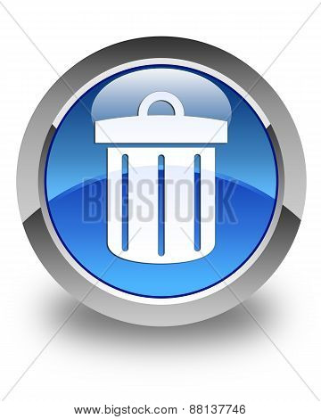 Recycle Bin Icon Glossy Blue Round Button