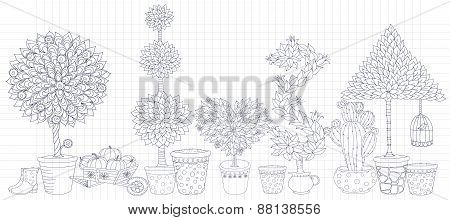 Topiary Landscape plants collection  vector,set with trees