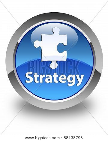 Strategy Glossy Blue Round Button