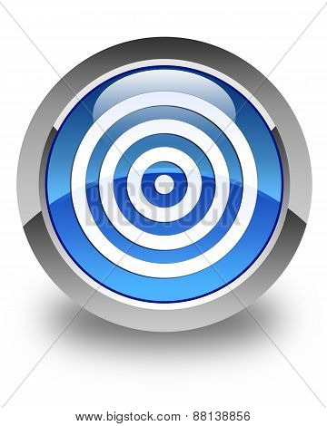 Target Icon Glossy Blue Round Button