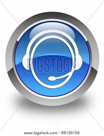 Customer Care Service Icon Glossy Blue Round Button
