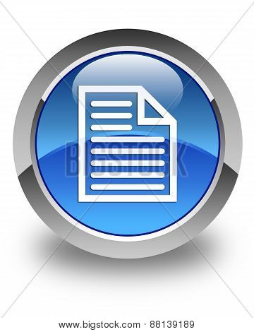Document Page Icon Glossy Blue Round Button