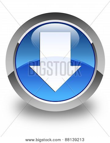 Download Arrow Icon Glossy Blue Round Button