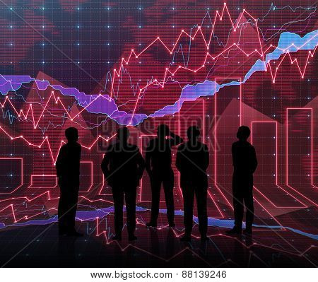 An Abstract Forex Graph Room In Red With People Siluet