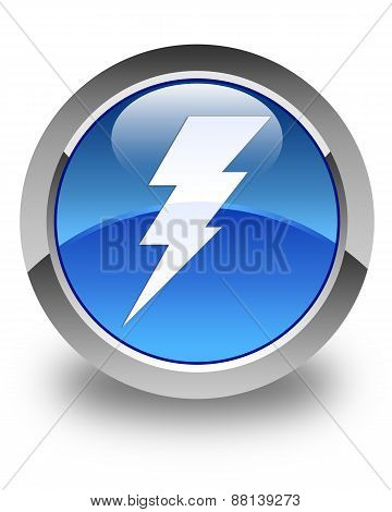 Electricity Icon Glossy Blue Round Button