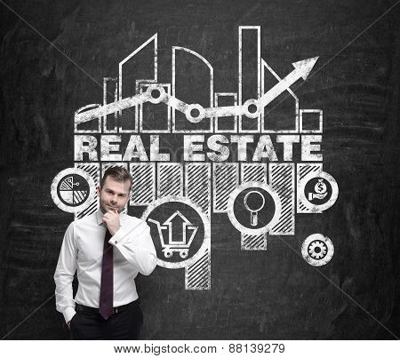 Handsome Real Estate Agent Is Thinking About Opportunities Of Real Estate Market.