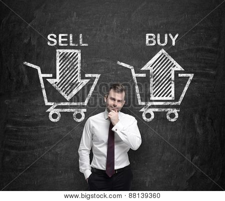 Businessman Is Thinking About The Choice 'sell Or Buy', Arrows On The Concrete Wall. A Concept Of Th