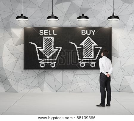 Businessman Is Thinking About The Choice 'sell Or Buy', Arrows On The Blackboard. A Concept Of The T