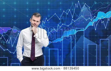 Trader Is Standing In Front Of The Forex Graph. A Metaphor Of International Financial Consulting. Bl