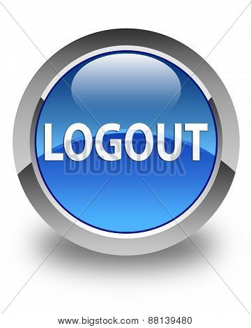 Logout Glossy Blue Round Button