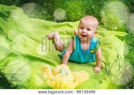 Adorable Toddler Baby Girl Playing