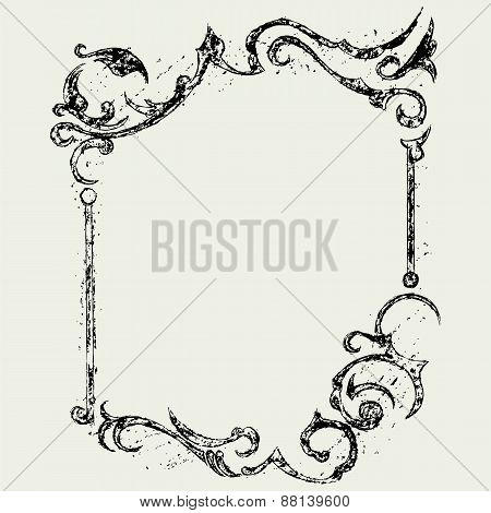Ornamental frame in grunge style