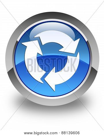 Refresh Icon Glossy Blue Round Button