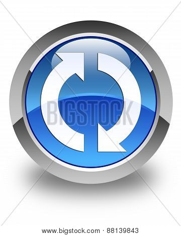Update Icon Glossy Blue Round Button
