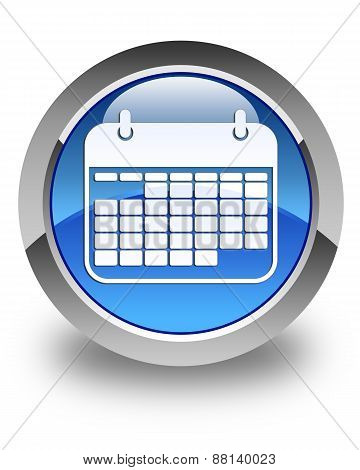 Calendar Icon Glossy Blue Round Button