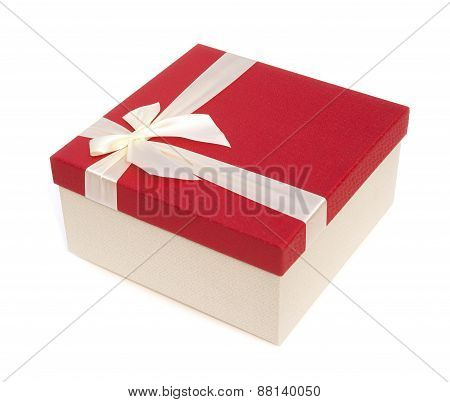 Red Give Box With Ribbon And Bow On White, Clipping Path Included