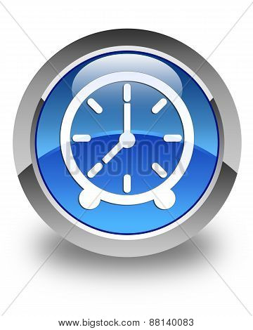 Clock Icon Glossy Blue Round Button