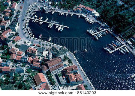 Aerial View At Milna, Brac Island, Croatia