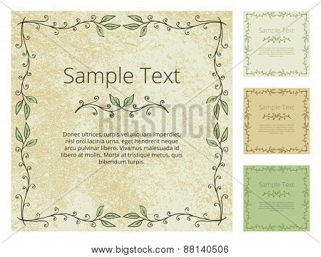 Floral Frame With Grunge Background
