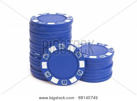 Two Stacks Of Blue Poker Chips On White With Clipping Path