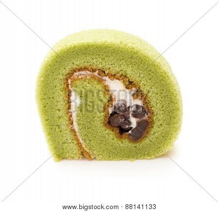 Piece Of Yummy Cake Made By Green Tea And Mung Bean On A White Background