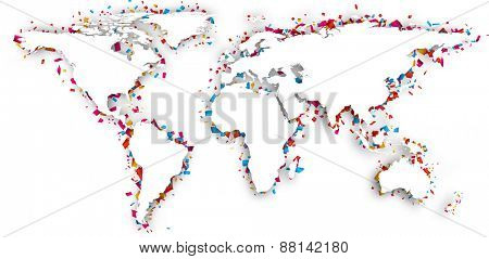 World map with shadow and confetti. Vector illustration.