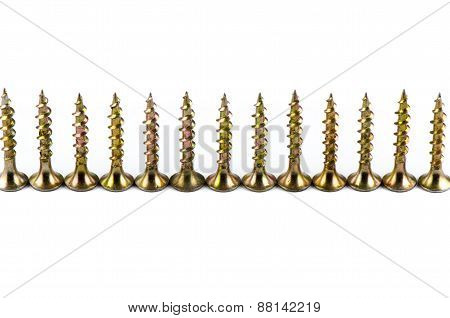 Golden screws isolated on white