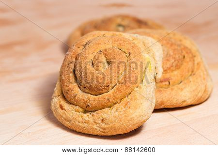Wholemeal Bread With Onions (closeup)