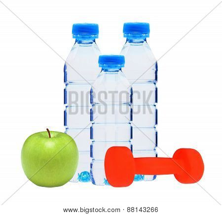 Blue Bottles With Water, Dumbell And Green Apple Isolated On White