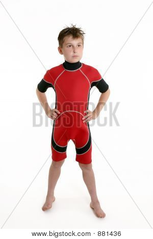 Child Wearing A Wetsuit