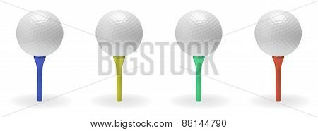 Golf Ball On Tee Set
