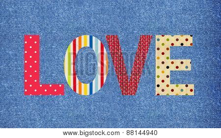 Textile Letter Love Over Jeans Background