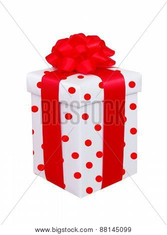 White Polka Dot Present Box With Red Bow